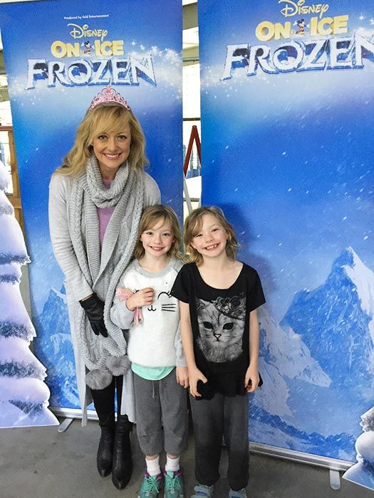 Shelley Craft with the girls at Disney On Ice Frozen